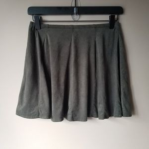Brandy Melville |  Faux Suede Olive Green Skirt